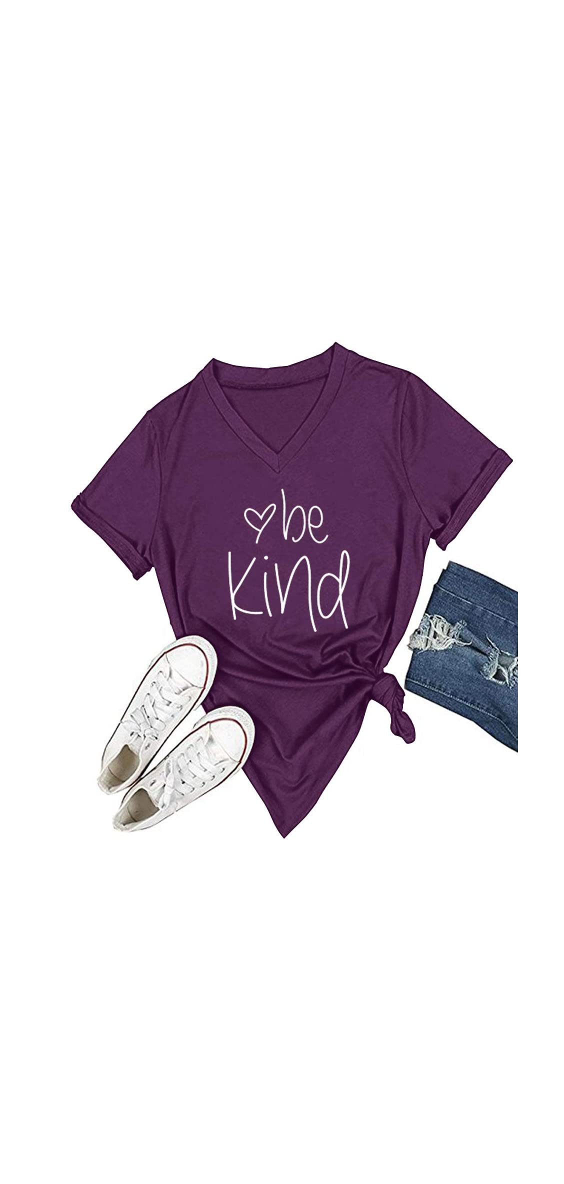 Womens T Shirt Casual Cotton Short Sleeve V-neck Graphic