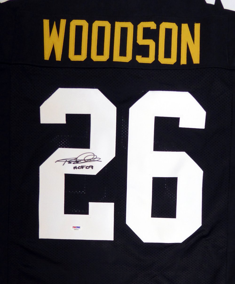 PITTSBURGH STEELERS ROD WOODSON AUTOGRAPHED BLACK JERSEY'HOF 09' PSA/DNA STOCK #105709