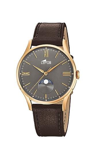 Lotus Watches Reloj Fase Lunar para Hombre de Cuarzo con Correa en Cuero 18428/3: Amazon.es: Relojes