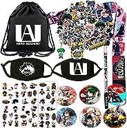 Rehero My Hero Academia Bag Sticker Set - 1 MHA Drawstring Bag, 2 Face Masks, 73 Cartoon Stickers, 6 Sheet of