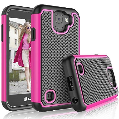 LG K3 2017 Case, 2017 LG K3 Case for Girls, Tekcoo [Tmajor] Shock Absorbing [Hot Pink] Adorable Soft Rubber Silicone Plastic Scratch Resistant Defender Bumper Rugged Hard Cases Cover for LG US110