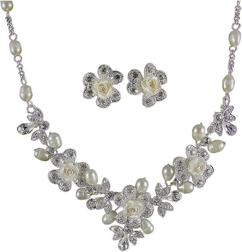 Venetia marfil con perla y Diamante juego de collar con colgante en forma de boda (bañado en plata) (e2090ss)