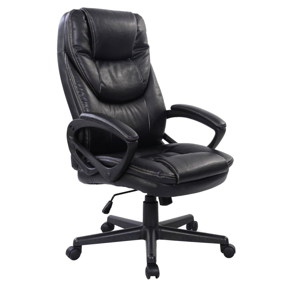 Giantex Ergonomic Office Chair High Back PU Leather Home Adjustable Swivel Executive Desk Chair Black