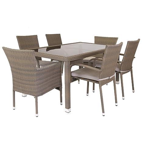 Conjunto de Mesa y sillas para jardín marrón de rattán ...