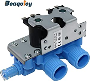 "205613 WP358276 Water Inlet Valve by Beaquicy - Replacement for Whirlpool Washer - Universal Style 3/8"" Outlet with Rubber Adapter to Convert Outlet to 1/2"""