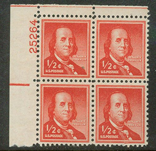 Ben Franklin half-cent 1955 stamp MINT PLATE BLOCK, Scott 1030 (1955 Mint)