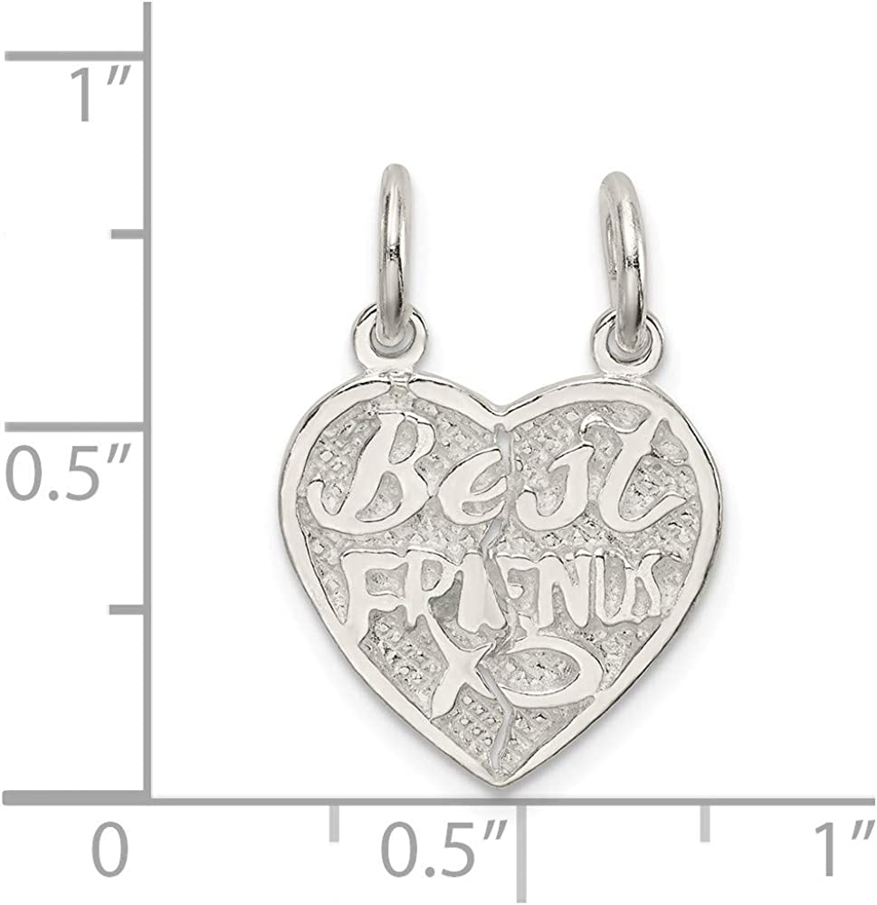 Mireval Sterling Silver Best Friends 2-Piece Break Apart Heart Charm on a Chain Necklace 16-20