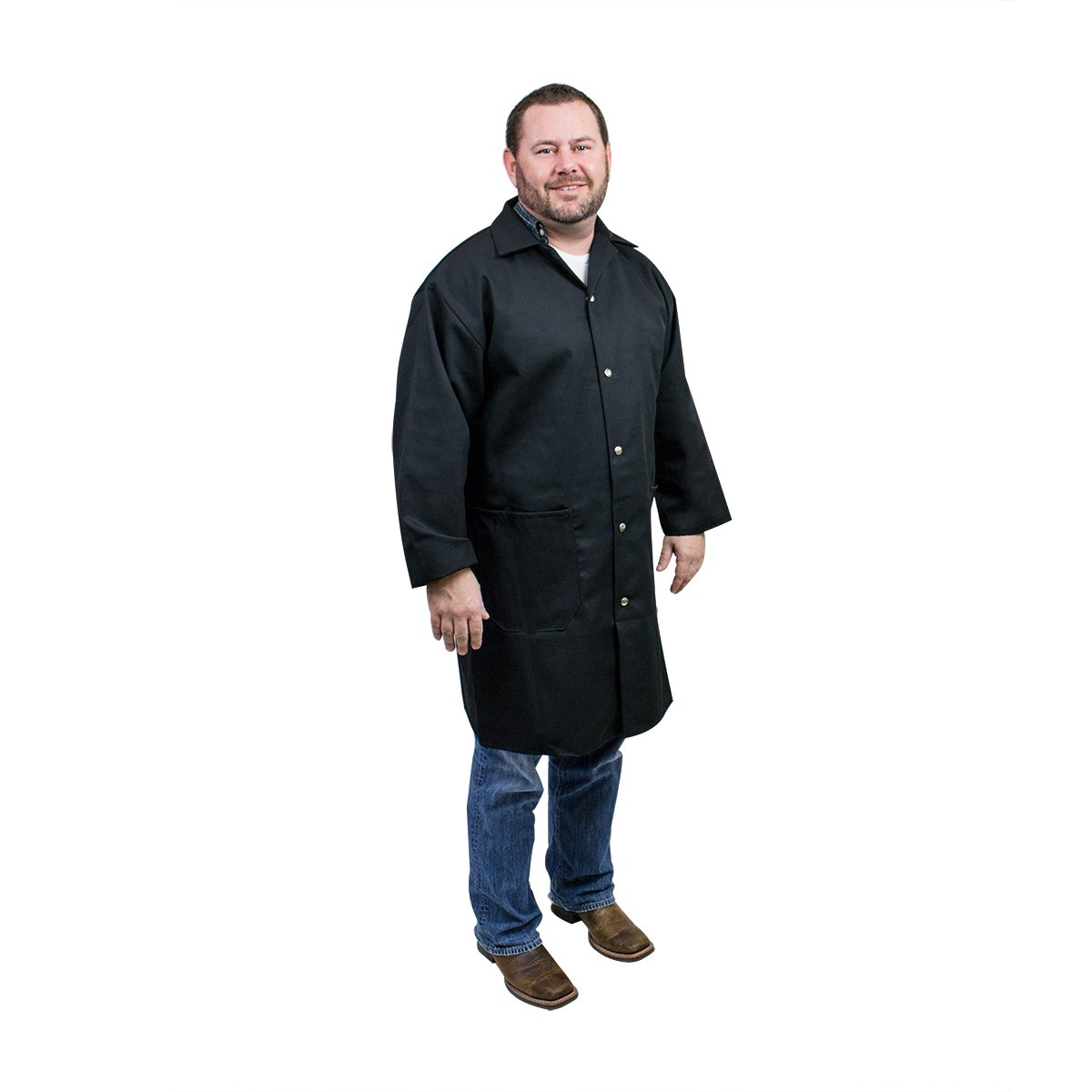 UltraSource - 460014-M Long Sleeve Smock/Lab Coat, Unisex, Medium, Black