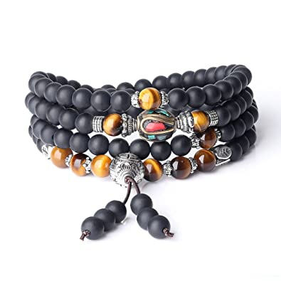COAI® Natural Stones Matte Onyx Tiger Eye 108 Mala Beads Wrap Bracelet Necklace 6mm 1SroTOvdXl