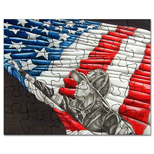 CafePress - Fireman With American Flag - Jigsaw Puzzle, 30 pcs.
