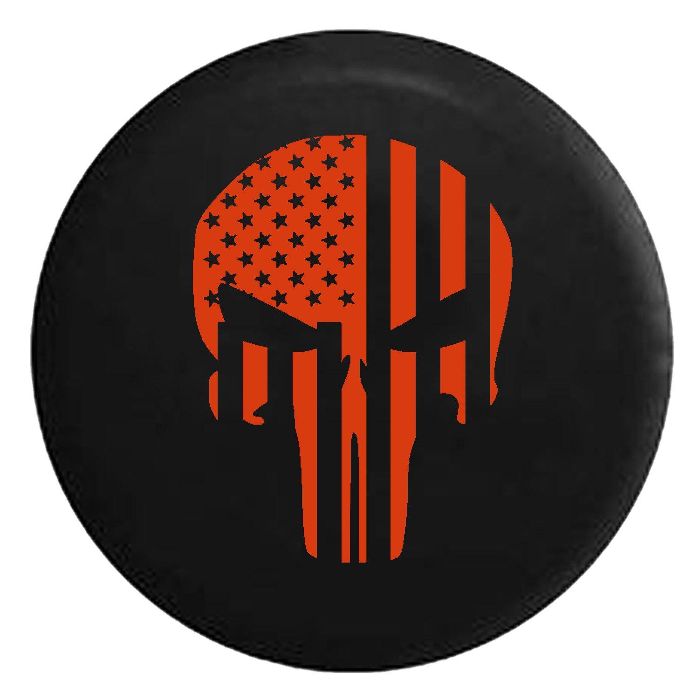 American Flag Tactical Stars & Stripes Punisher Skull Spare Jeep Wrangler Camper SUV Tire Cover Orange Ink 33 in