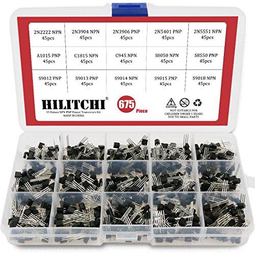 Hilitchi 675-Piece 15 Values 2N2222-S9018 NPN PNP Power General Purpose Transistors Assortment Kit by Hilitchi
