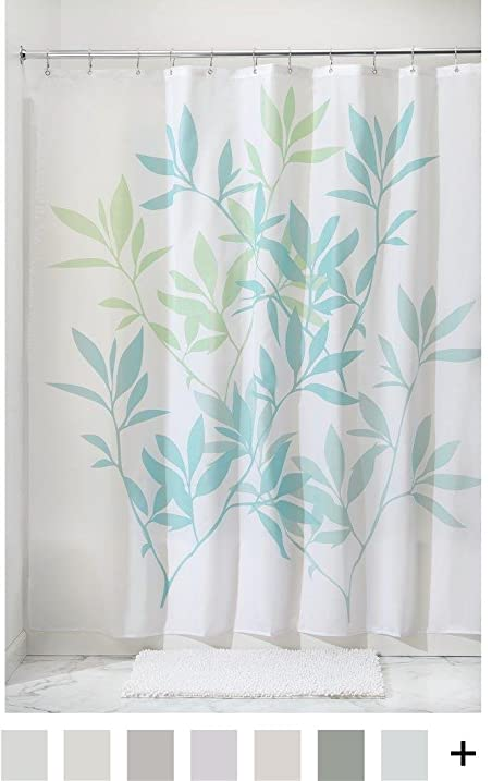 Amazon.com: InterDesign Leaves Fabric Shower Curtain 72 x 72, Blue ...