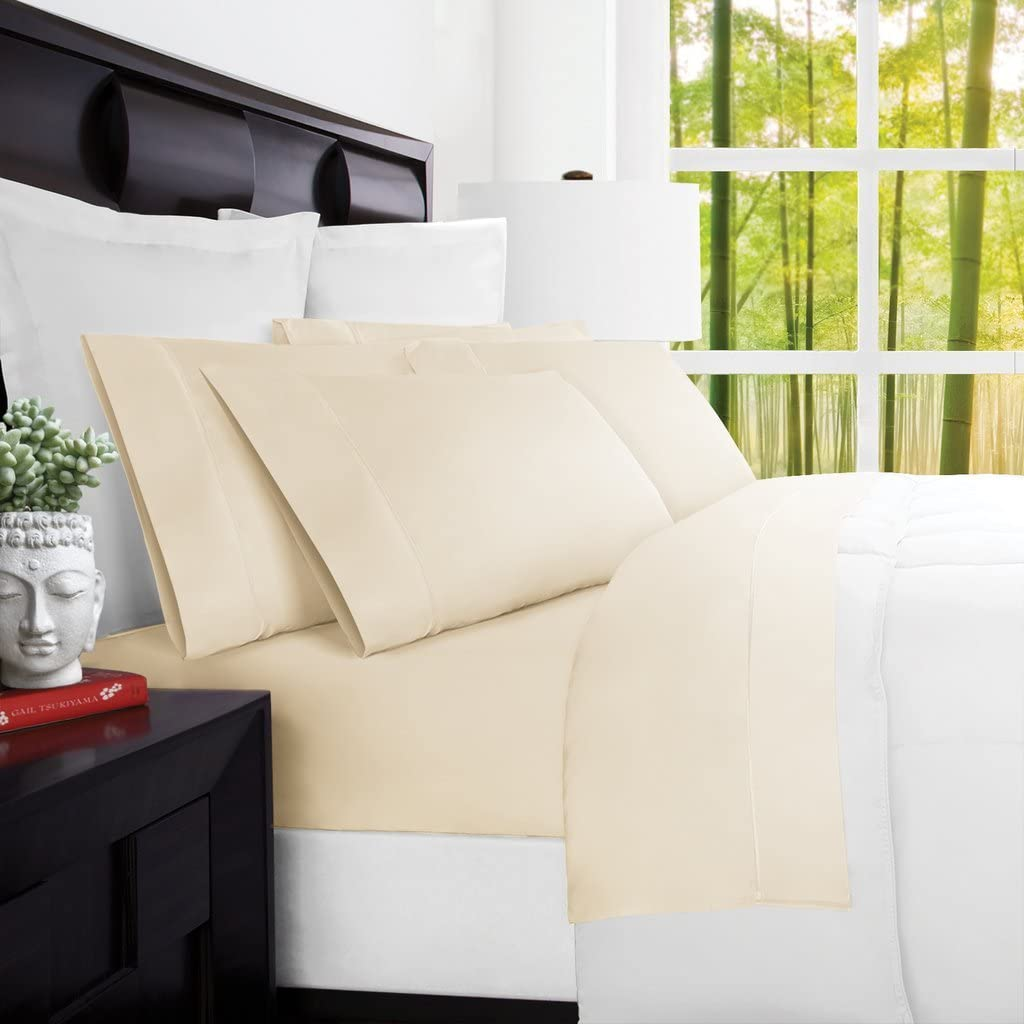 Mandarin Home Luxury 100 Percent Rayon Derived from Bamboo Bed Sheets - Eco-Friendly, Hypoallergenic and Wrinkle Resistant - 4-Piece - (Full, Cream)