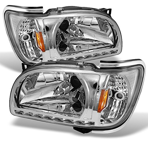 01-04 Toyota Tacoma Pickup Truck 1 Piece Clear Headlights w/ Silver Trim Corner Signal Lamps Set (Toyota Tacoma Truck Corner)
