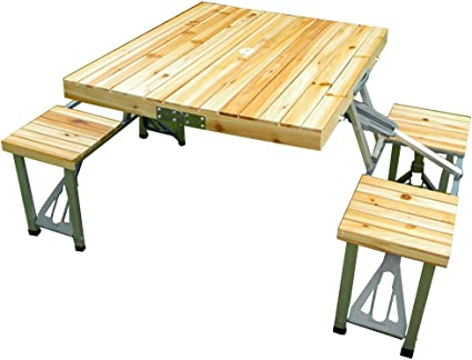 Chengguo Wooden Folding Table And Chair Set Outdoor Recreation Table And Chair Shared Table And Chair Portable Ultralight Portable Multipurpose Camping Bbq Picnic Folding Table Amazon De Küche Haushalt