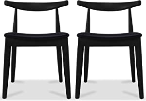 2xhome Contemporary Farmhouse Real Solid Wood PU Leather Cushion Seat Mid Century Modern Dining Chairs Desk Armless No Arm Elbow Side Chair for Living Room Bedroom Kitchen Office (Black x2)