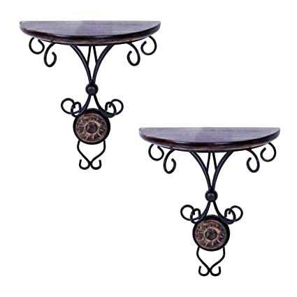 Pindia Wood Beautiful Wood and Wrought Iron Fancy Wall Bracket (8 cm x 4 cm x 9 cm, Brown, Set of 2)