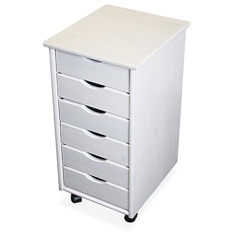 KMH®, Cajonera con ruedas, 6 cajones, pino macizo, color blanco (#201124)