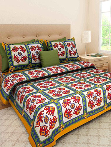 Double Bed Sheet Rajasthani Print Double Bed Sheets Hand Screen - Orange print sheets
