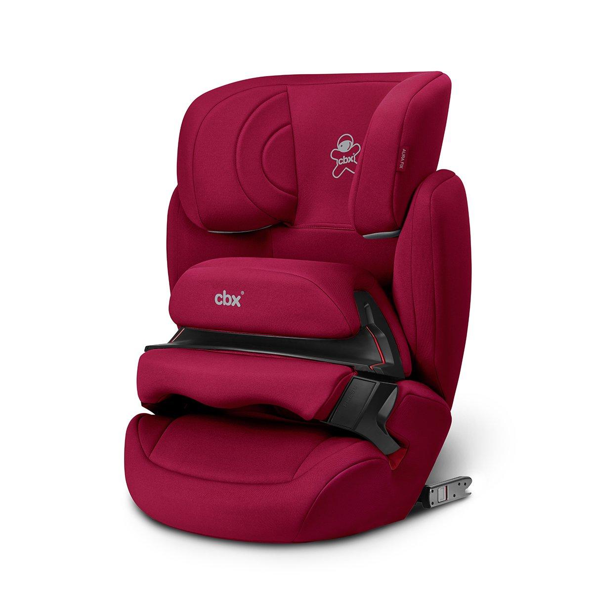 cbx Kinder-Autositz Aura-Fix, Gruppe 1/2/3 (9-36 kg), Ab ca. 9 Monate bis ca. 12 Jahre, Für Autos mit und ohne ISOFIX, Crunchy Red 518001597