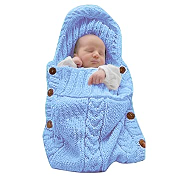 4d4d48fdc0de Amazon.com  XMWEALTHY Newborn Baby Wrap Swaddle Blanket Knit ...