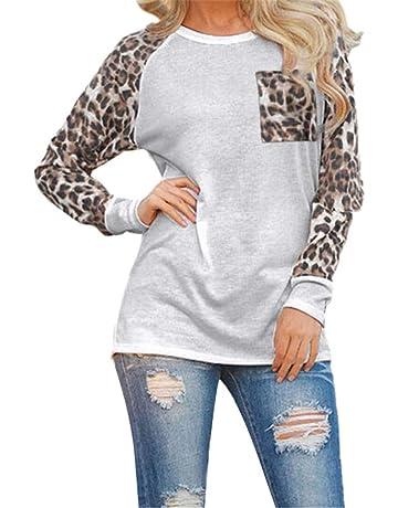 LuckyGirls Camisetas para Mujer Manga Larga Estampado de Leopardo Splicing Casual Camisas Tops Blusas T-