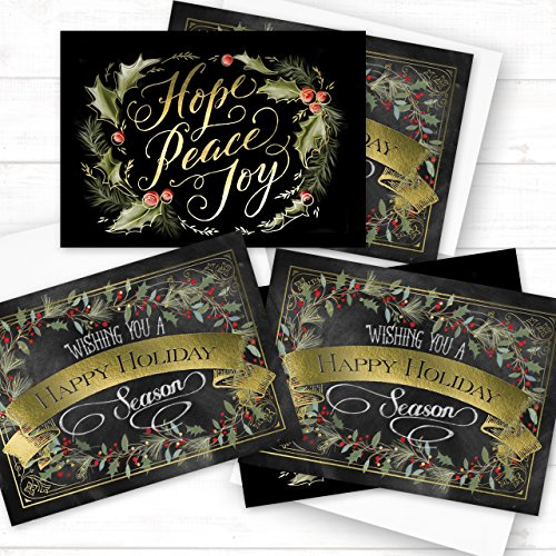 Chalkboard Holly Wreath Holiday Card Pack - Set of 36 cards - 2 designs, versed inside with envelopes Photo #6