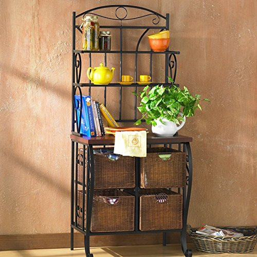 Kitchen and Dining Furniture, Baker's Rack Features Three Spacious Shelves and Four Wicker Storage Baskets with Steel Wire Frame, Four Shelves