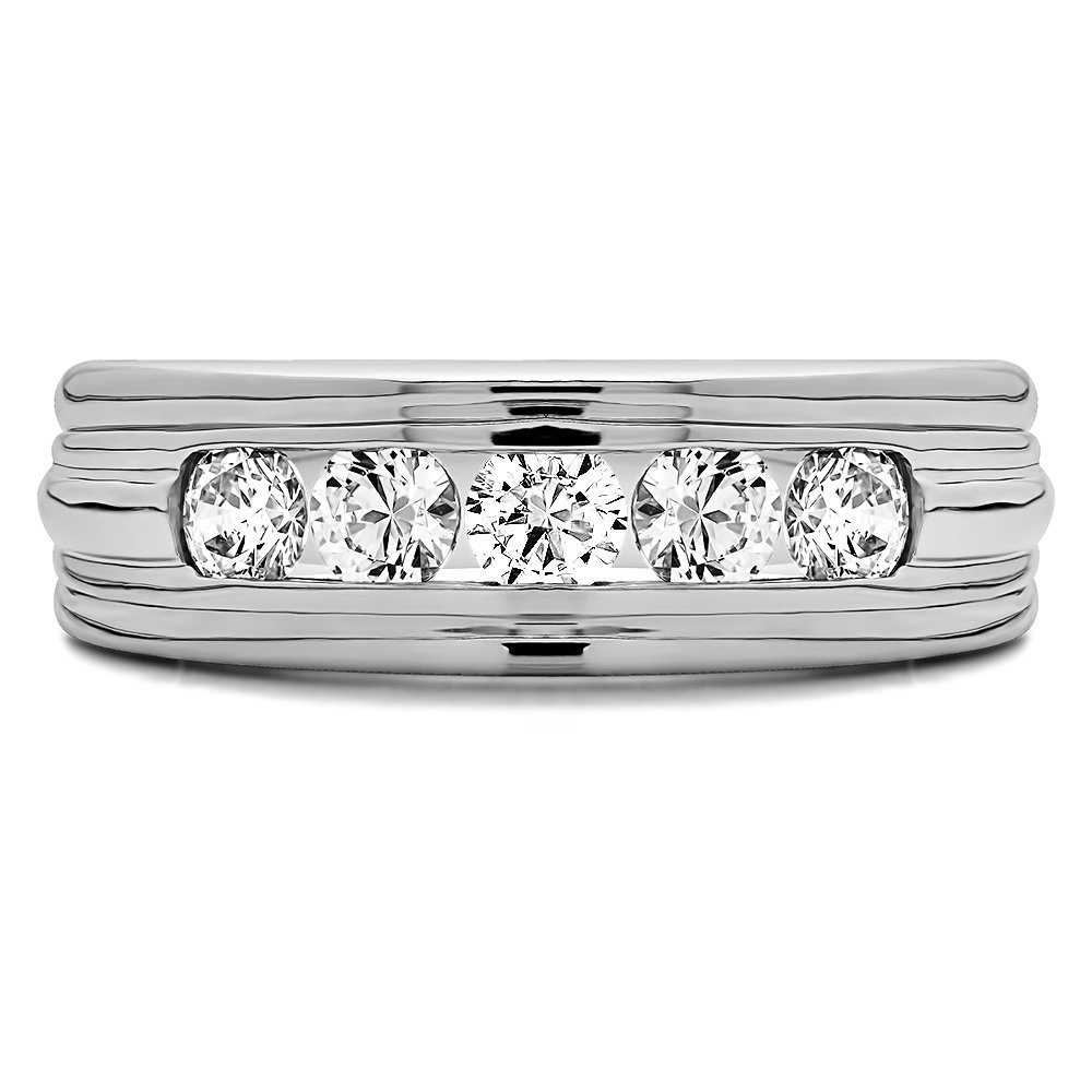 Size 3 to 15 in 1//4 Size Intervals Sterling Silver Mens Wedding Band Forever Brilliant Moissanite 0.45Ct