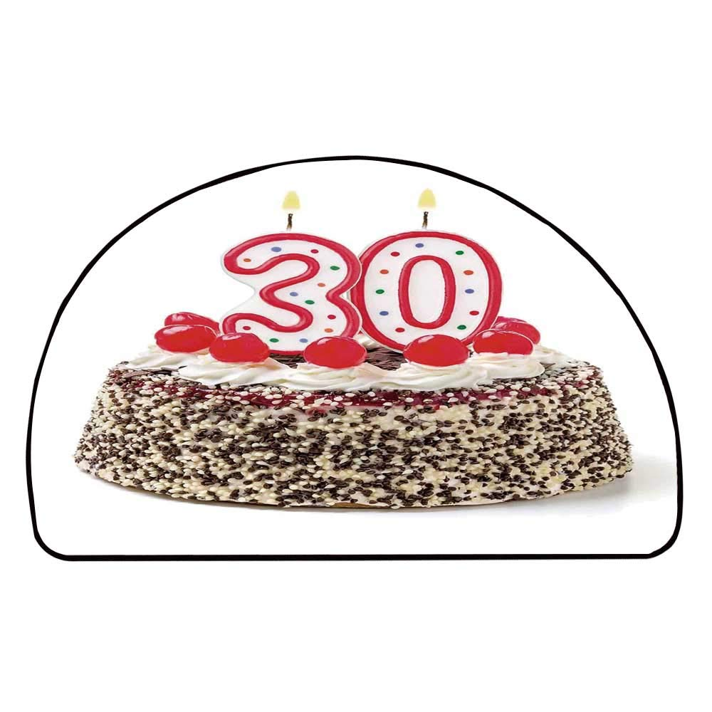 C COABALLA 30th Birthday Decorations Comfortable Semicircle Mat,Birthday Cake with Cherries on Top and Burning Candles Number 30 for Living Room,27.5'' H x 55.1'' L