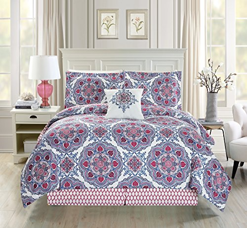 5 Piece Medallion Floral Red/Blue/White Comforter Set Cal Ki