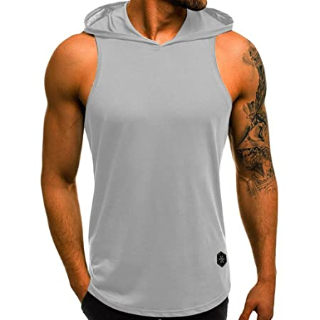 Amazon.com: Ugood Herren Tanktop Aufdruck T-Shirt Muskelshirt Sport Fitness Kapuze Mix (Gray, Size:L): Health & Personal Care