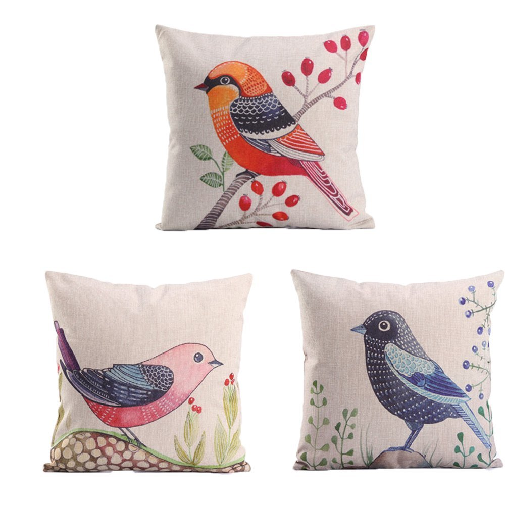 LOVE Birds Pattern Linen Decorative Throw Pillow