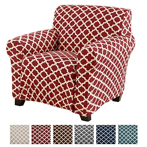 Home Fashion Designs Printed Stretch Arm Chair Furniture Cover Slipcover Brenna Collection, Burgundy