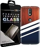 CASE U Moto G4 Plus Cover/Case + Free Premium Korean Tempered Glass Navy Wood Designer Premium PolyCarbonate Case Back Cover for Motorola Moto G4 Plus