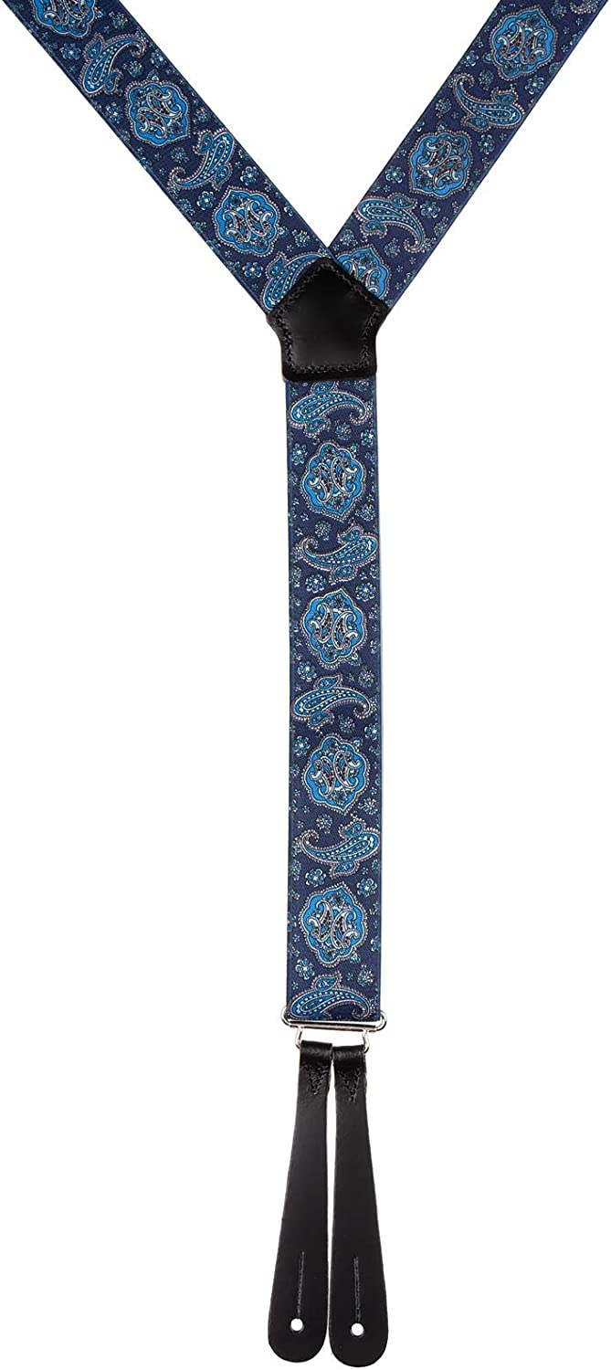 Made In Britain Classic Paisley Y Back Button Trouser Braces With Leather Ends in Blue or Deep Red Pattern Extra Long Sizes XL XXL