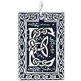 """Joaillier Llords   Initiale """"E"""" celtique, Motif d'entrelacs irlandais, Collier à pendentif, bijou en pur étain"""