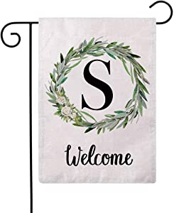 ULOVE LOVE YOURSELF Welcome Decorative Garden Flags with Letter S/Olive Wreath Double Sided House Yard Patio Outdoor Garden Flags Small Garden Flag 12.5×18 Inch