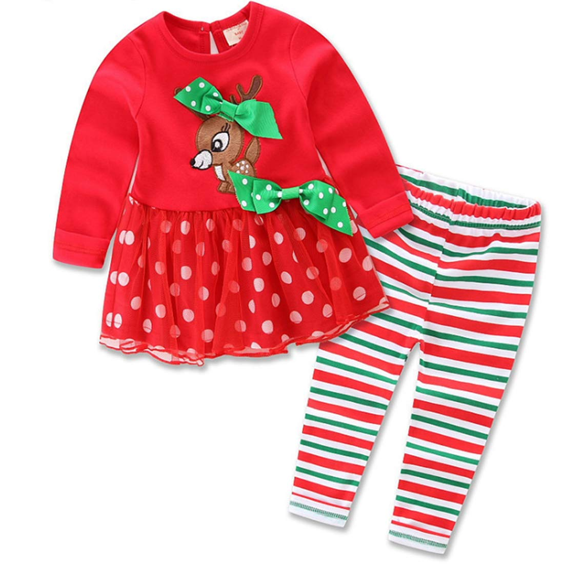 MU CHAO Neonate per Bambini Abiti Natalizi Autunno Inverno Caldo Gonna Ragazza Set 1 Set 2 Pezzi Vestito da Ragazza