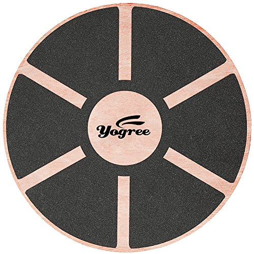 Yogree 15.4' Wooden Balance Board for Workout, Fitness, Balance Exercise & Rehabilitation, Non-Slip & Safe Pad - Agility Core trainer Portable Wobble Board