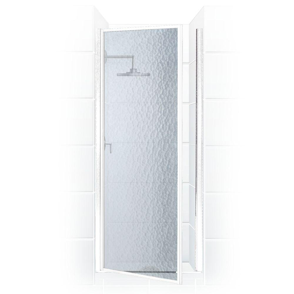 Legend Series 27 in. x 64 in. Framed Hinged Shower Door in Platinum with Obscure Glass durable service