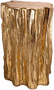 Benjara Nature Inspired Tree Trunk Metal Stool, Gold