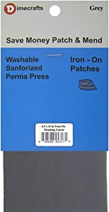 Iron-On 1 Repair Patch of Mending Fabric 6.5 x 14 Inch Color: Grey, Compare to Bondex
