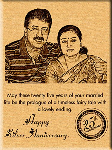 Buy incredible gifts india 25th silver wedding anniversary gift incredible gifts india 25th silver wedding anniversary gift ideas engraved photos on wood 9x7 negle Gallery