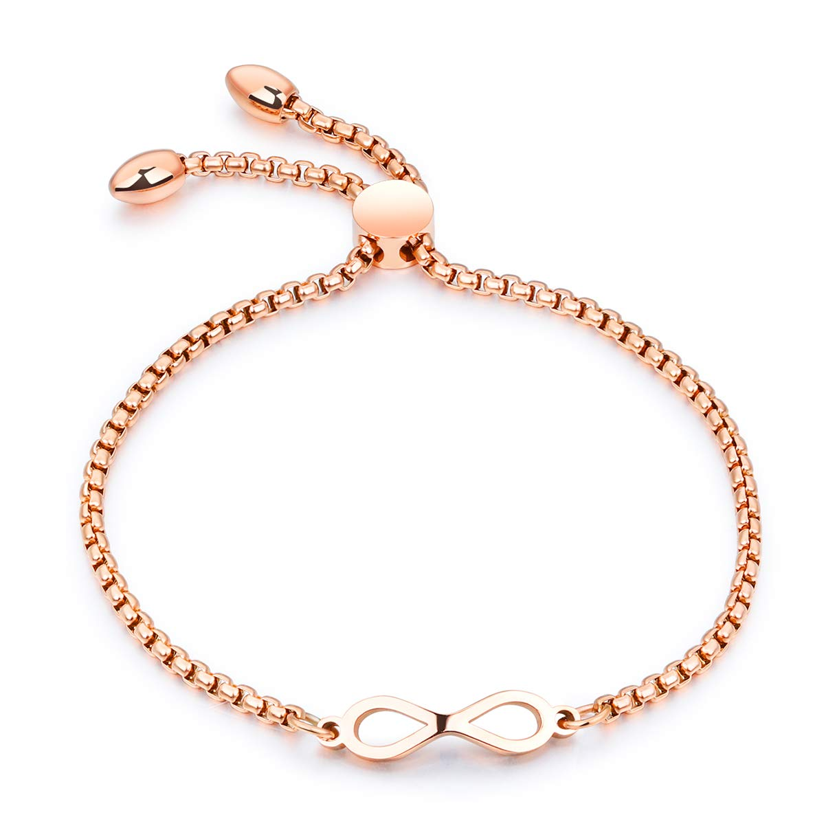 CHARMFAME Korean Style Adjustable Rose Gold Plated Stainless Steel Infinity Bracelet Fashion Jewelry for Women /& Girls