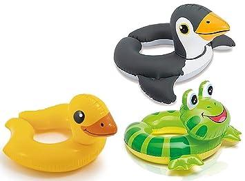 Amazon.es: Intex Paquete de 3 - 59220ep - flotadores de la piscina del anillo dividido de cabeza de animal paquete incluye Jirafa, Rana, Pingüino: Juguetes ...