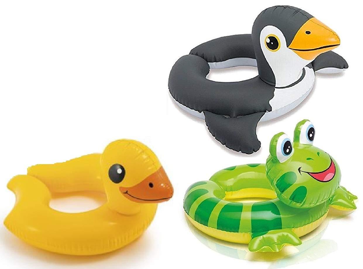 3 Pack - Intex 59220EP - Animal Head Split Ring Pool Floats Bundle Includes Frog, Duck, Penguin