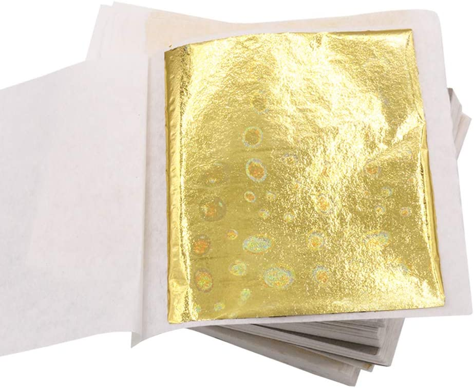 100 Sheets 3.15 by 3.35 Inches 100 Sheets 3.15 by 3.35 Inches Furniture Decoration Smallpox Wall Light Gold Foil Multipurpose for Home Frame KINNO Imitation Gold Leaf Sheets