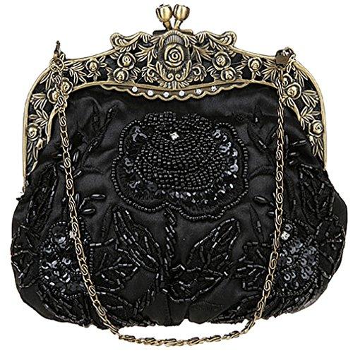 Handbags Vintage Flower Sequin Women's Beaded Evening Belsen Black nqwO6YW5